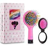 Detangling Hair Brush, Flend 2-Pack Rainbow Comb, Detangler Hair Brush for Adults & Kids, Pink