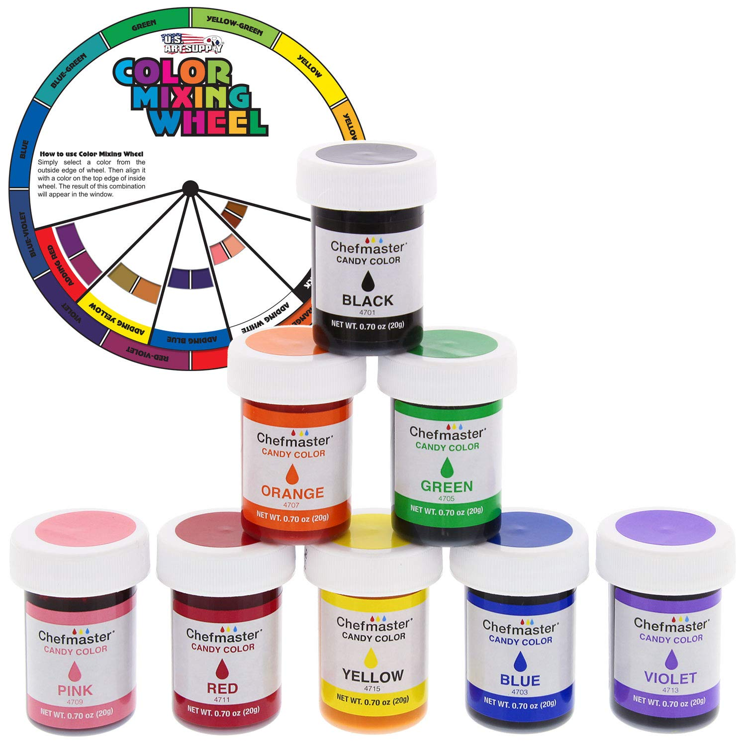 U.S. Cake Supply 8 Bottle Set of 20-gram Liquid Candy Food Color with Color Mixing Wheel