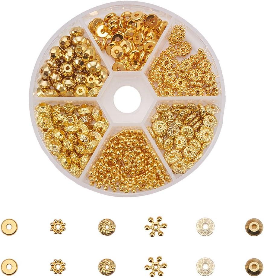 PandaHall Elite 300 Pcs Cuentas Esperadoras, Perlas de Espaciador de Latón, Cuentas para Pulsera, Brazalete, Collar, 6 Formas Mixtas, Dorado, 80x20 mm