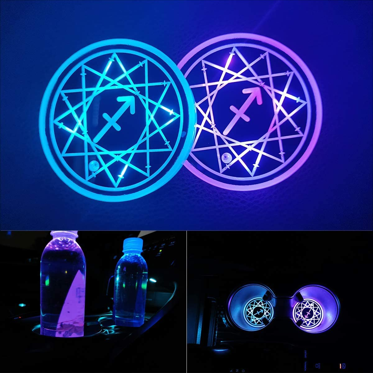 BBA 2 Pcs Scorpio LED Car Cup Holder Lights Car Coaster with 7 Colors Changing USB Charging Cup Mat Luminescent Cup Pad LED Interior Atmosphere Lamp Decoration Light Car Accessories