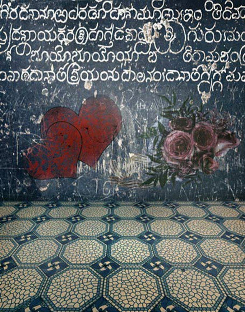 A Monamour gunged黒板ハートLoveフラワーグラフィティ壁床5 x 7ft写真背景ビニール   B01MTJJM16
