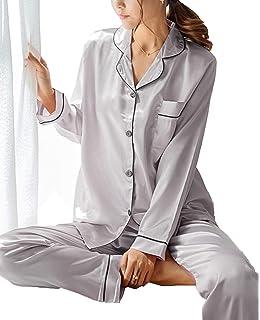7e3f31d6e9 GAESHOW Women s Satin Silk Pajamas Set Long Sleeve Button-Down Pj Set  Sleepwear Nightwear Loungewear