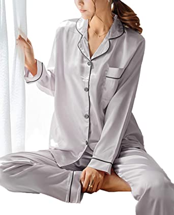 GAESHOW Women s Satin Silk Pajamas Set Long Sleeve Button-Down Pj Set  Sleepwear Nightwear Loungewear 661d54a39