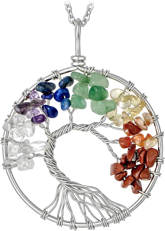 sedmart Tree of Life Pendant Amethyst Rose Crystal Necklace Gemstone Chakra Jewelry