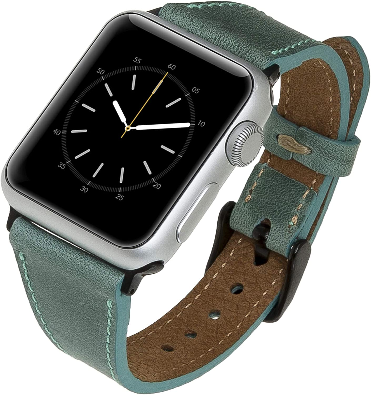 Venito Messina Leather Slim Watch Band Compatible with Apple Watch 38mm 40mm - Strap Designed for iwatch Series 1 2 3 4 5 6 (Aqua Green w/Black Connector&Clasp)