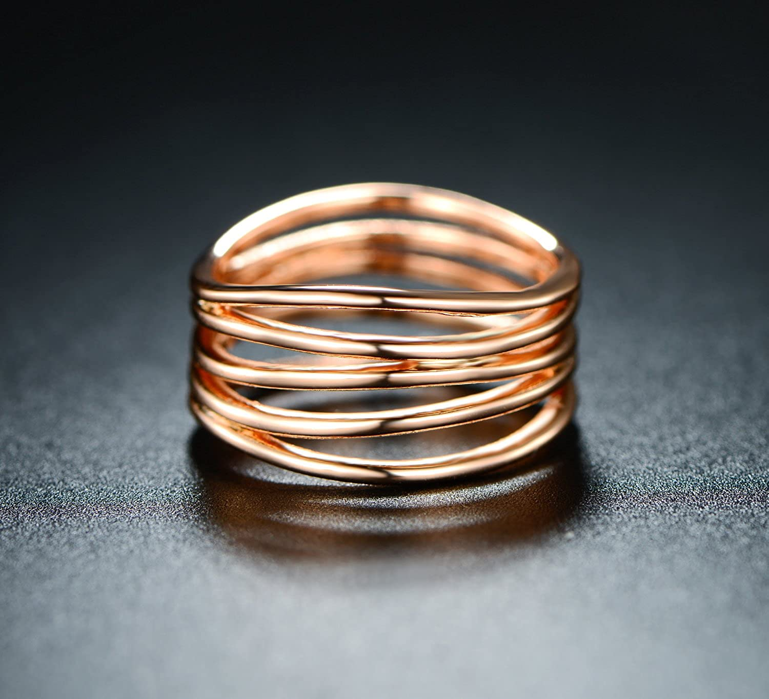 Barzel Gold Rose Gold /& White Gold Plated Statement Ring SGS INTERNATIONAL