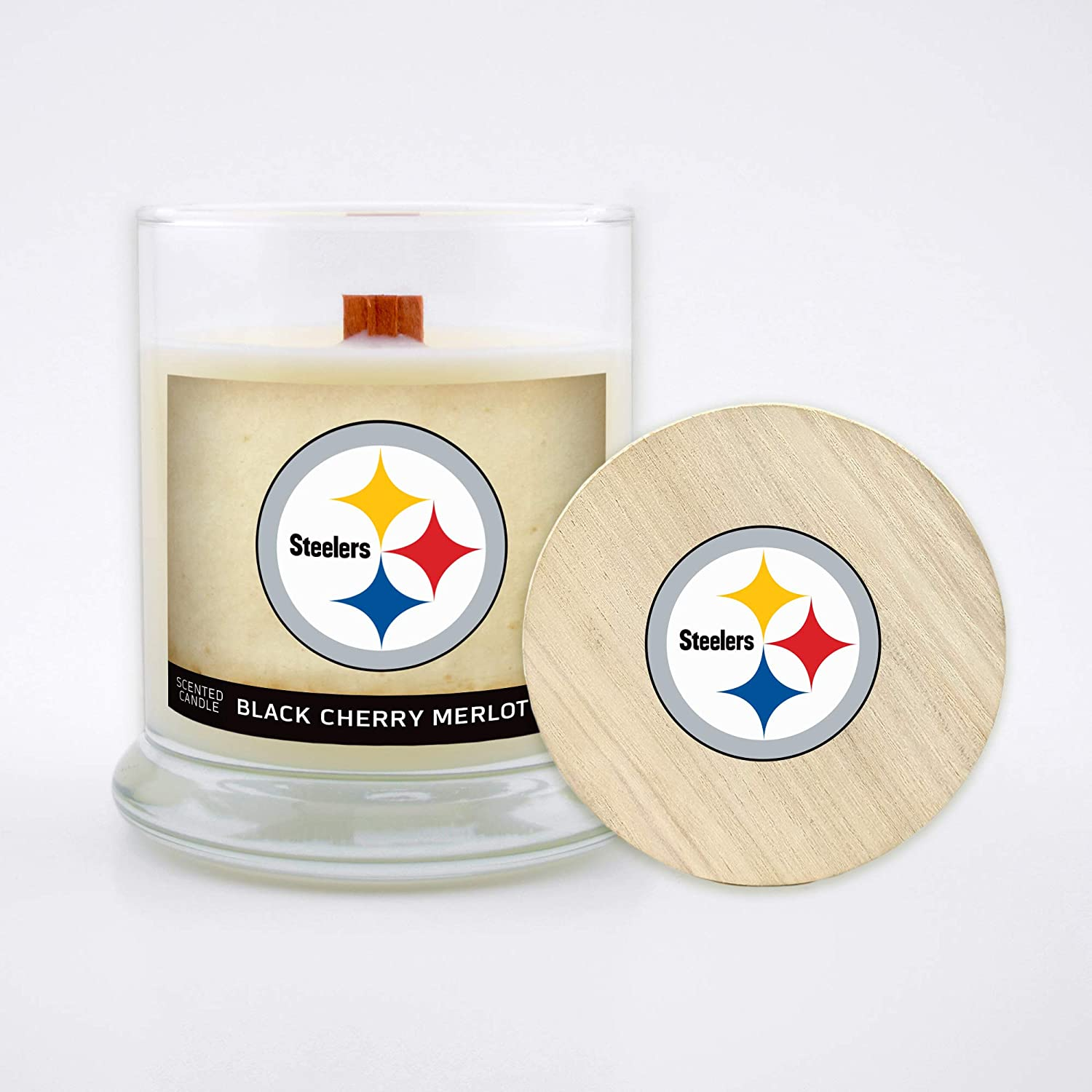 Black Cherry Merlot Worthy Promo NFL Pittsburgh Steelers Gifts 8oz Scented Candle Soy Wax w//Wood Wick and Lid