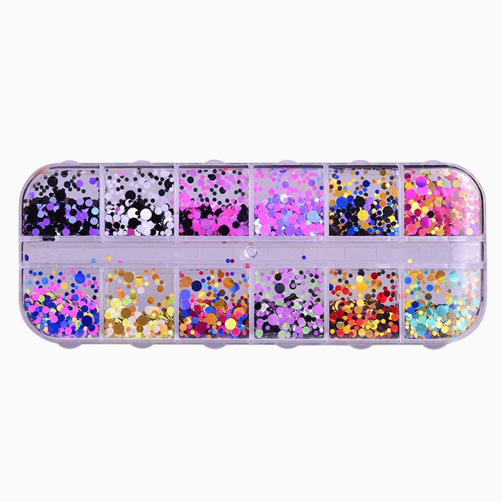 Lurrose Paillette ultra-sottili Nail Art Glitter Mini paillettes Paillette decorazioni colorate chiodo rotondo
