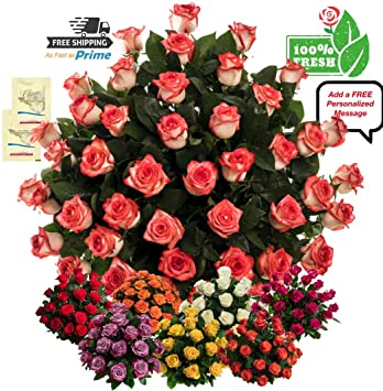 Flowers For Delivery On Amazon Bouquet Of 50 Red White Fresh Roses Delivered With Free Flower