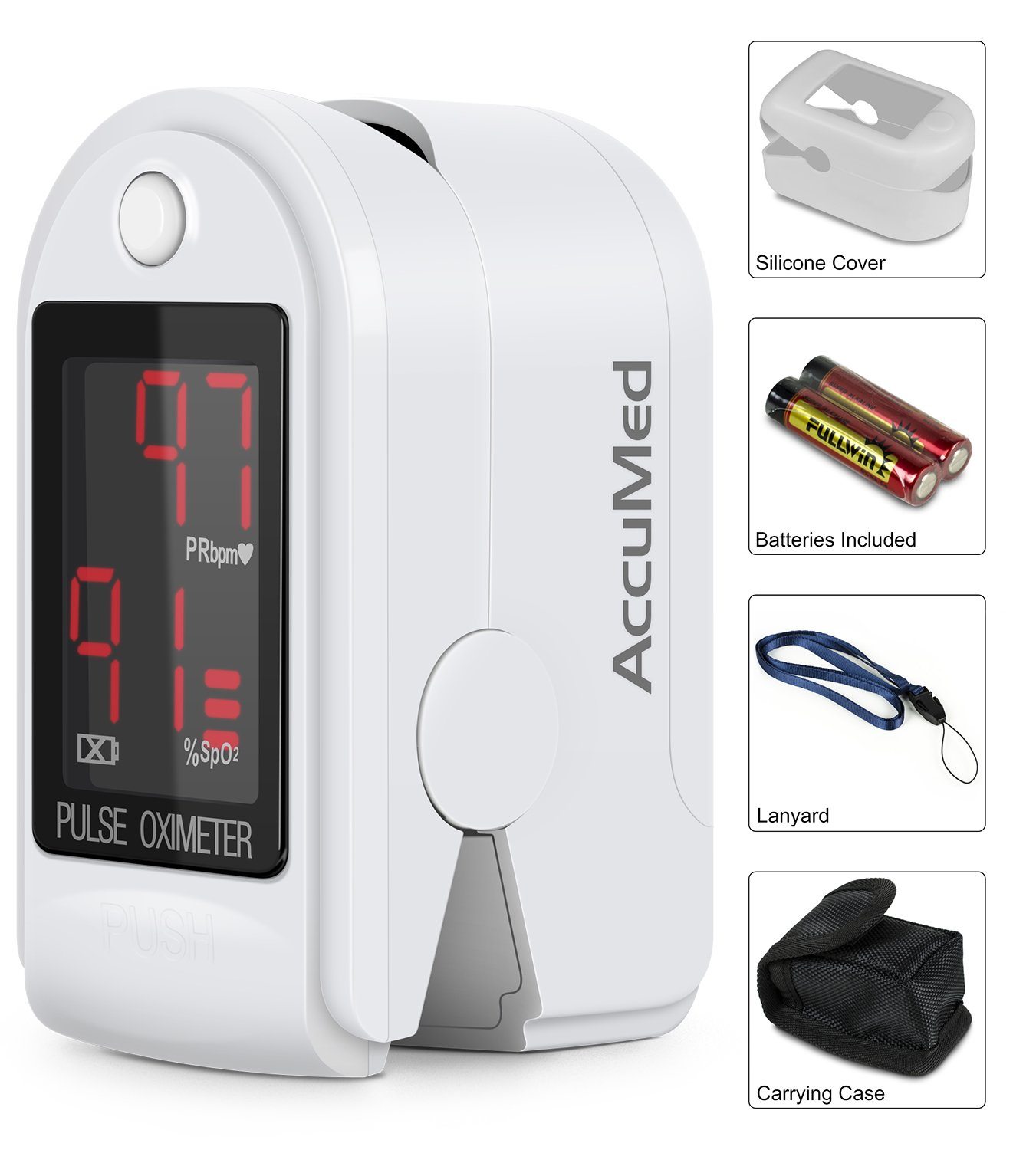 AccuMed CMS-50DL Pulse Oximeter Finger Pulse Blood Oxygen SpO2 Monitor w/Carrying case, Landyard Silicon Case & Battery (White)