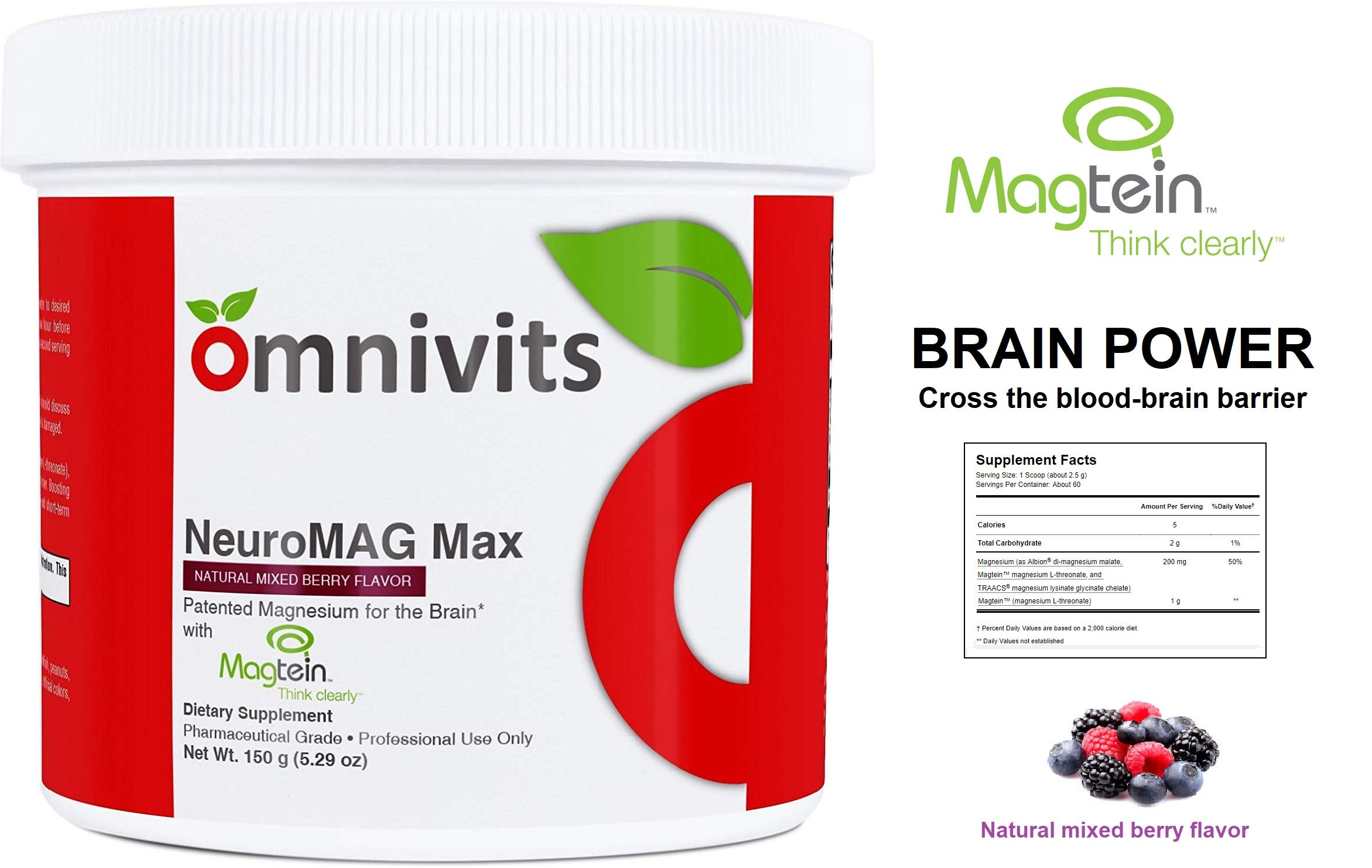 Omnivits Neuro MAG Max Natural Mixed Berry Flavor | Optimized Magnesium for Brain & Body | Magnesium Chelate Albion Di-Magnesium Malate & Magtein | Highly Absorbable | 5.29 oz 60 Serving
