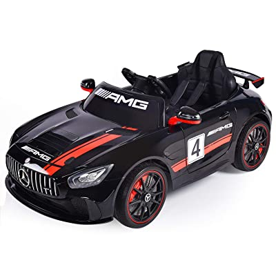 YOURLITEAMZ Kids Ride On Car Mercedes Benz AMG-GT4 Motorized Vehicles Seater 12V Electric Radio Parental Remote Control LED Lights PU Leather Seat Motorized Cars Toddler Drivable (Black): Toys & Games