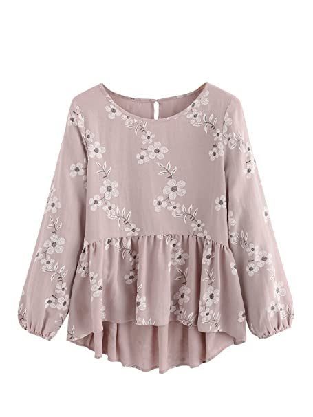 82ce6c01 SheIn Women's Loose Ruffle Hem Peplum Short Sleeve Blouse Top Floral Pink#  Small