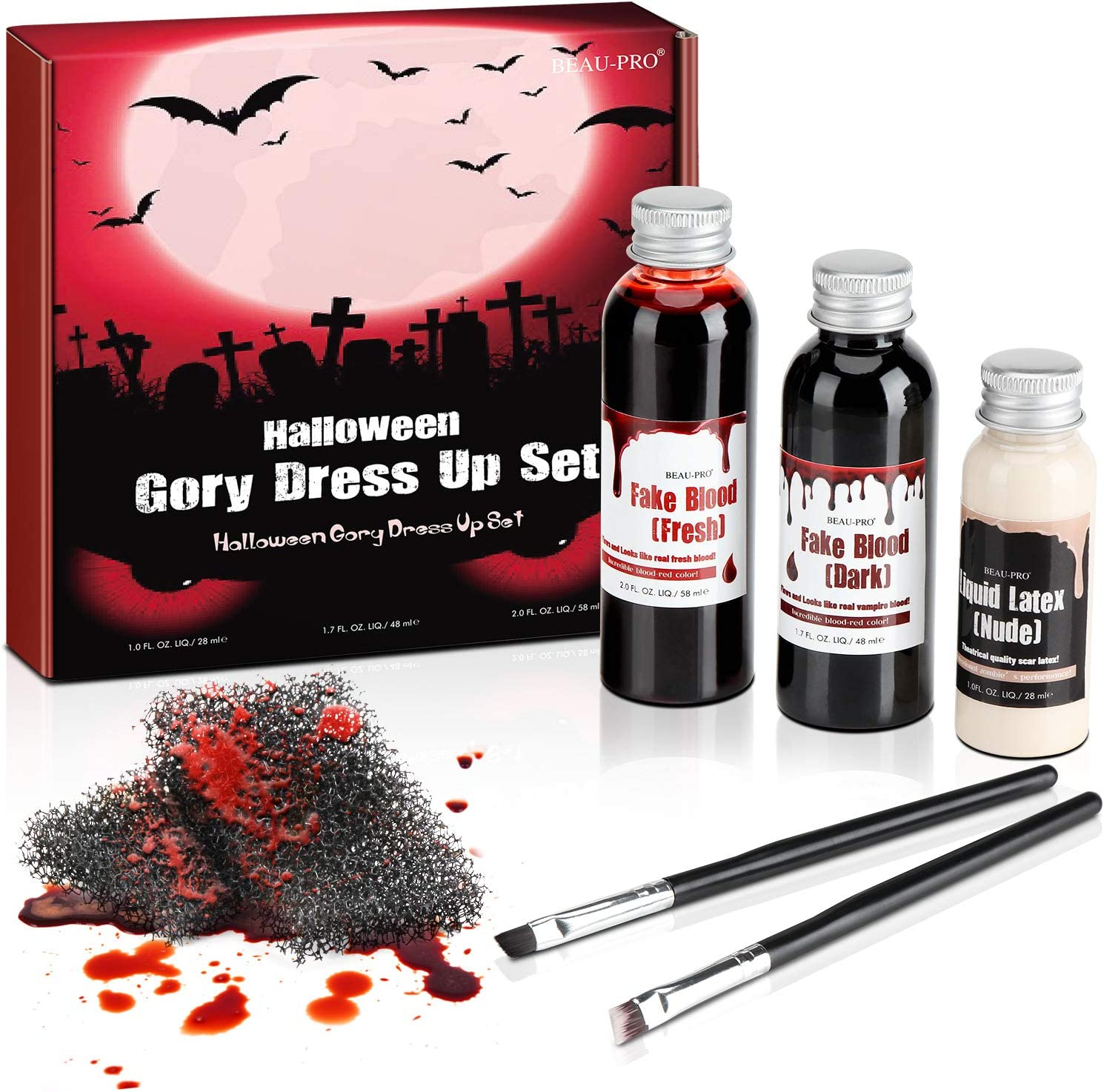 Sangre falsa con 1 * 50 ml de sangre rojo oscuro, 1 * 60 ml de sangre fresca y 1 * 30 ml de maquillaje líquido de látex sfx de Fright Fest