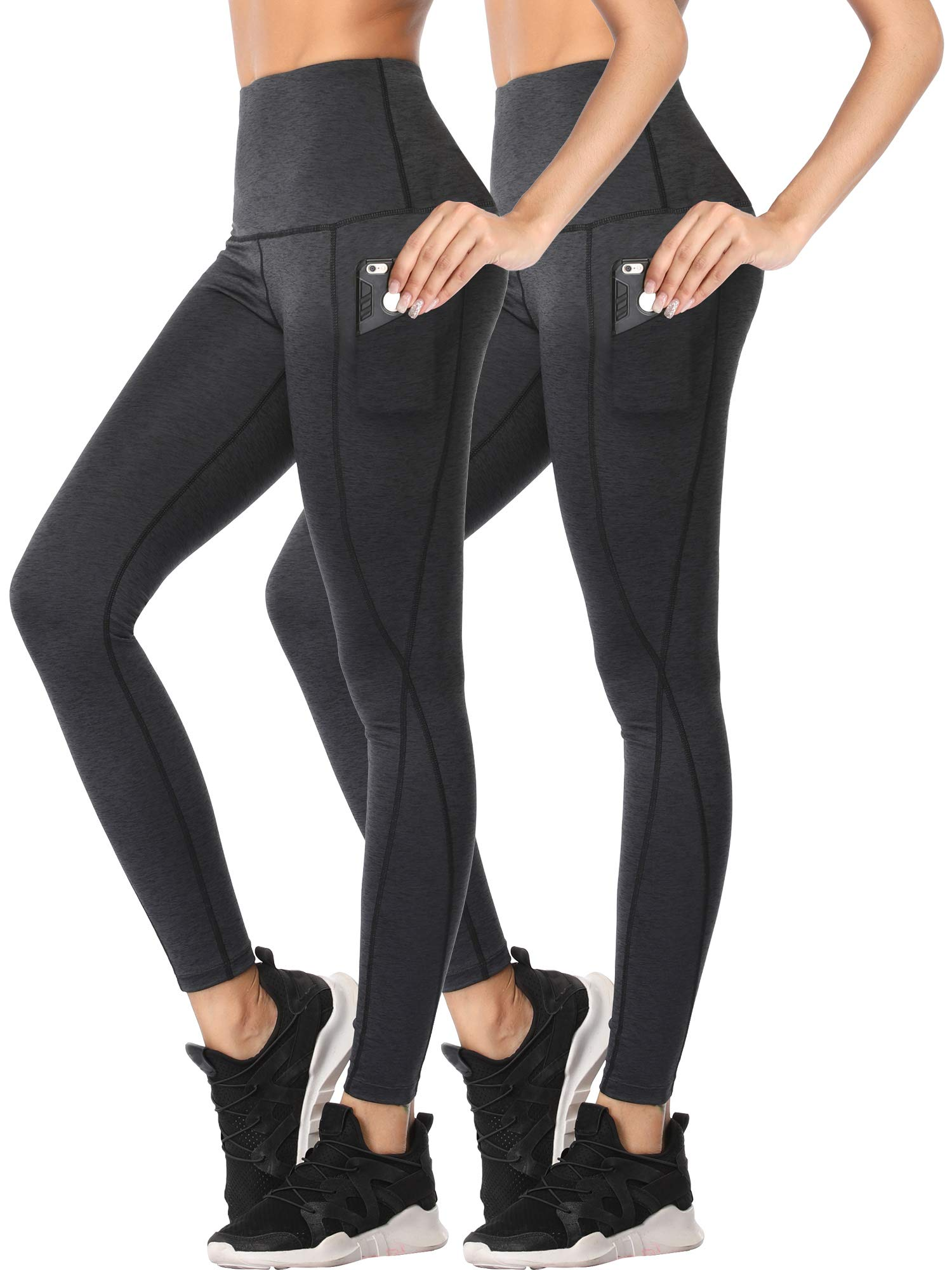 Cadmus Womens Tummy Control Running Leggings for Yoga,1102,Dark Grey,Small
