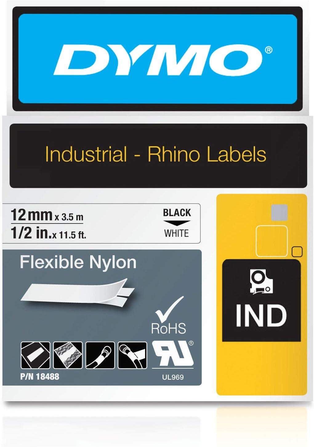 für DYMO Rhino 18057 Schrumpfschlauch Schwarz auf weiß IND-Etikettenband 19mm