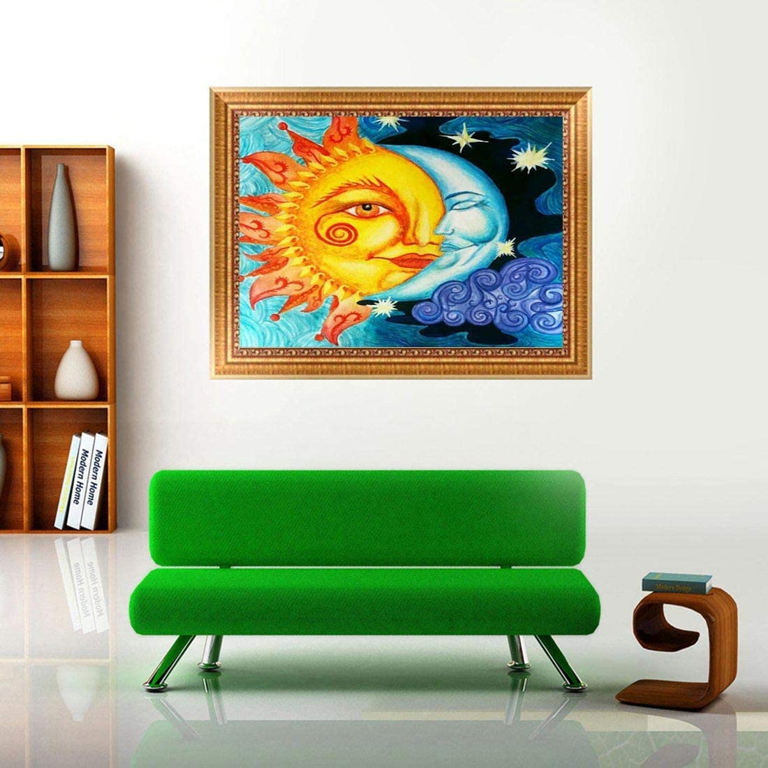 Diamond Painting Accessories Sun and Moon 5D Diamond Art Full Drill DIY Art Cross Stitch Set Embroidery Mosaic For Home Decor With Tools Accessories Family Ornaments 30 x 30 cm