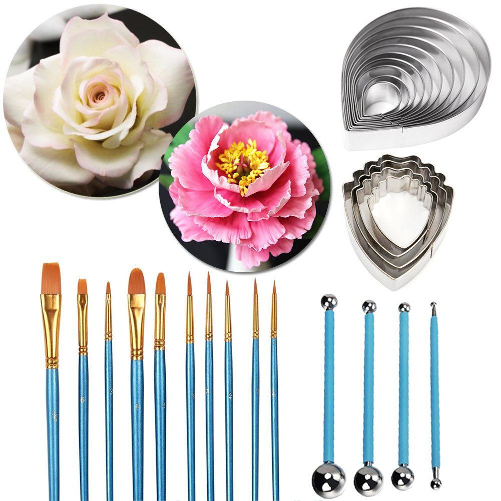 Peony and Austen Rose Sugar Flower Tool Set- Gumpaste Decorating Modeling Tools Set 2 Sets Stainless Steel Petal Cutter Set 10 pcs Cake Decorating Brushes Fondant Cake Decorating Supplies