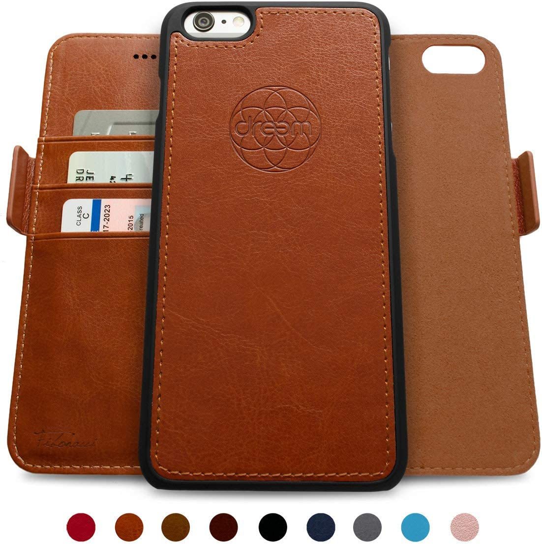 Dreem Fibonacci 2-in-1 Wallet-Case for iPhone 6-Plus & 6s-Plus, Magnetic Detachable Shock-Proof TPU Slim-Case, RFID Protection, 2-Way Stand, Luxury Vegan Leather, GiftBox - Caramel