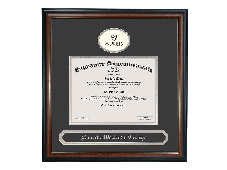 Signature Announcements Roberts-Wesleyan-College Sculpted Foil Seal /& Name Graduation Diploma Frame 16 x 16 Matte Mahogany