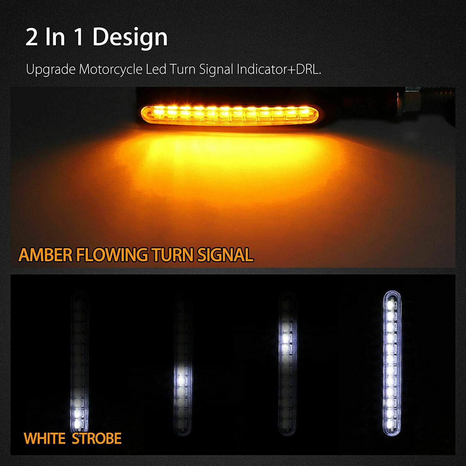 NUOBEIER 24Led Motorcycle Turn signal Light Tail Light Warning Light Modified Motorcycle Indicator Brake Lights /& Daytime Running Lights,Suitable for all riding motorcyclesBX-Red//Amber(2PCS)