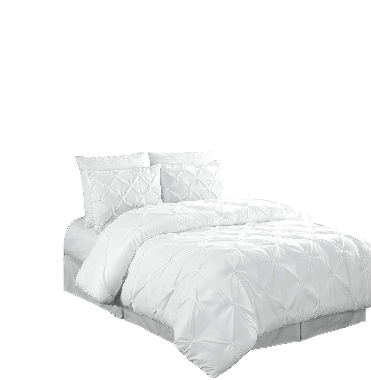 Chezmoi Collection Berlin 3-Piece Pintuck Pinch Pleat Comforter Set (Queen, White)