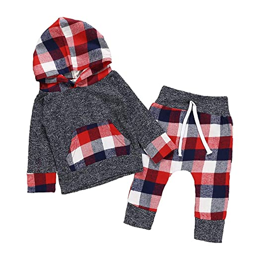 5953c8eb8 Baby Boys Girls Clothes Newborn Hoodie Tops Sweatsuit Long Sleeve Plaid  Pants Outfit Set (Red
