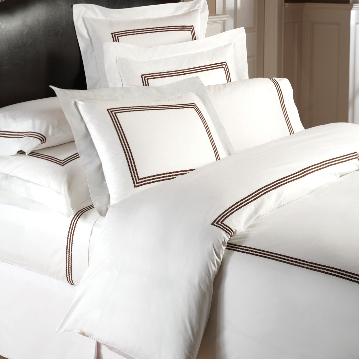 Windsor White Queen Duvet Cover with Chocolate Embroidery