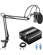 Neewer NW-700 Condenser Microphone Kit with USB 48V Phantom Power Supply, NW-35 Suspension Scissor Arm Stand, Shock Mount, Pop Filter for Home Studio Recording Broadcast YouTube Live Periscope(Black)