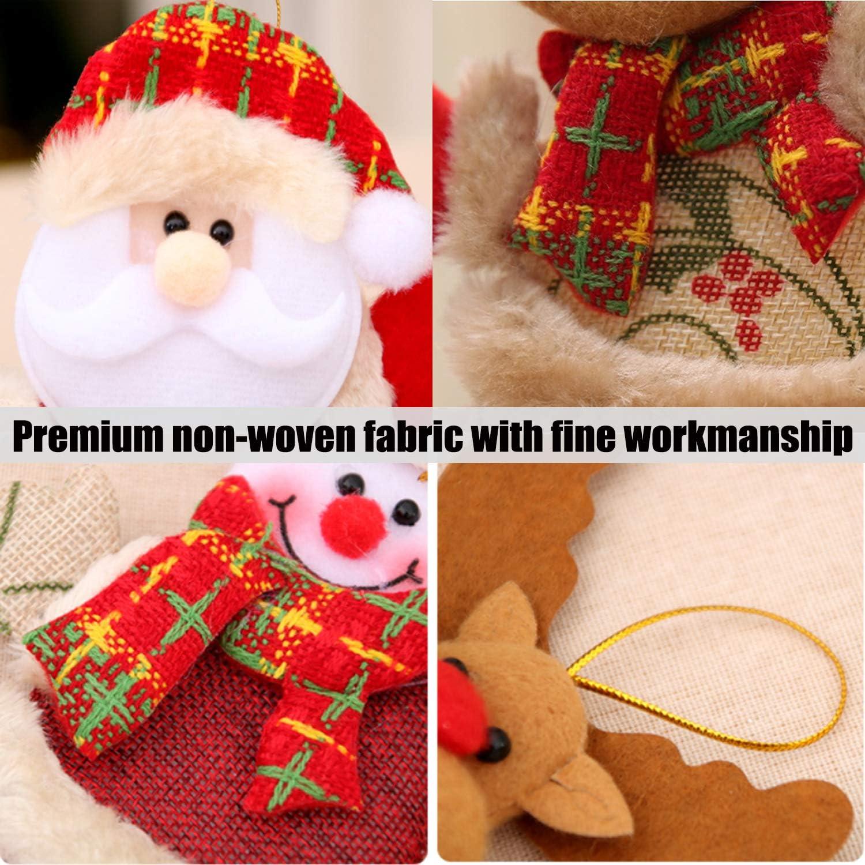8 Pack Christmas Tree Plush Hanging Ornaments Decorations Santa//Snowman//Elk//Bear Ornaments for Christmas Tree Pendant Festive Season Holiday Party Decor AMENON Christmas Plush Ornaments Set