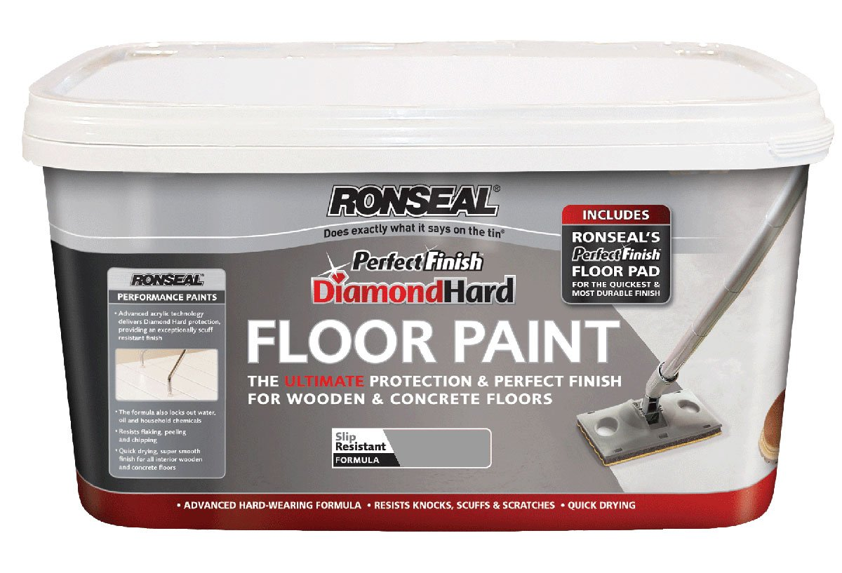 Ronseal DHPFFPS25 2.5L Diamond Hard Perfect Finish Floor Paint - Slate RSLDHPFFPS25