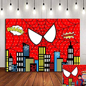Red Spider Web Photography Backdrop Baby Shower Photo Booth Studio Props Supplies Super Heros Cityscape Photo Background Vinyl 5x3ft Children Boys 1st Birthday Party Banner Decorations Dessert Table