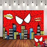 Red Spider Web Photography Backdrop Baby Shower Photo Booth Studio Props Supplies Super Heros Cityscape Photo Background…