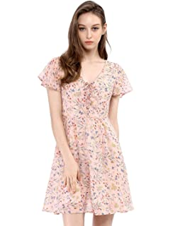 d563aa956d Allegra K Women s Floral Flouncing Sleeve A-Line Lace-up V-Neck Chiffon