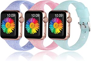 Getino Bands Compatible with Apple Watch 40mm 38mm for Women Girls Soft Breathable Slim Durable Glitter Bling Sport Band for iWatch SE & Series 6 & Series 5 4 3 2 1, Shiny Color, Purple, Cyan, Rose Red, 3 Pack, S/M