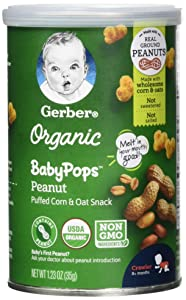 Gerber Organic Babypops Puffed Corn & Oat Snack for Baby - Peanut, 5Count