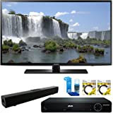 """Samsung 55"""" 1080p 120Hz Full HD LED Smart HDTV (UN55J6201) with HDMI HD DVD Player, Solo X3 Bluetooth Home Theater Sound Bar, 2x 6ft High Speed HDMI Cable & Screen Cleaner for LED TVs"""