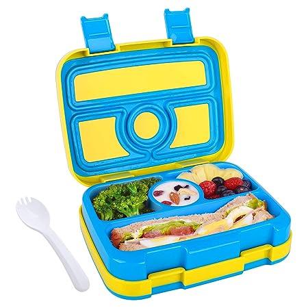 WayEee Fiambrera Bento para Niños Lunchbox con 4 Compartimentos ...