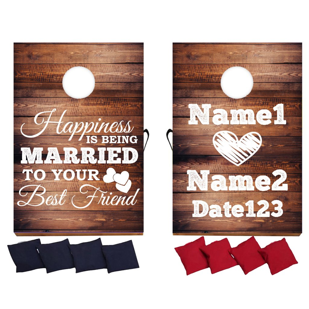 VictoryStore Custom Wedding Bag Toss Game - Custom Wedding Cornhole - Happiness is Being Married to Your Best Friend by VictoryStore