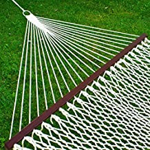 Best Choice Products Woven Cotton Rope Double Hammock w/Wood Spreader and Carrying Case - White