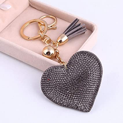 Amazon.com: Womens Gold Key Chain Crystal Heart Keychains ...