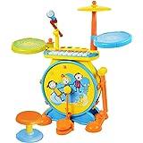 マジックドラム カラフル ジャズキーボード マイク 椅子あり 音楽おもちゃ ピンク・ブルー2色 [並行輸入品]
