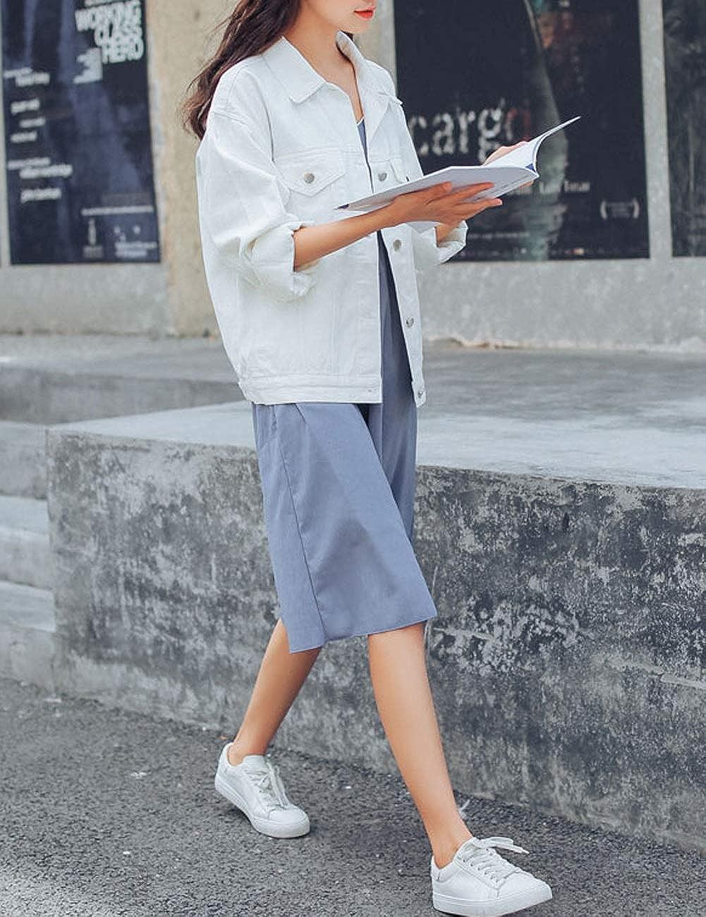 KAMA BRIDAL Womens Boyfriend Denim Jackets Long Sleeve Oversized Loose Jean Coat