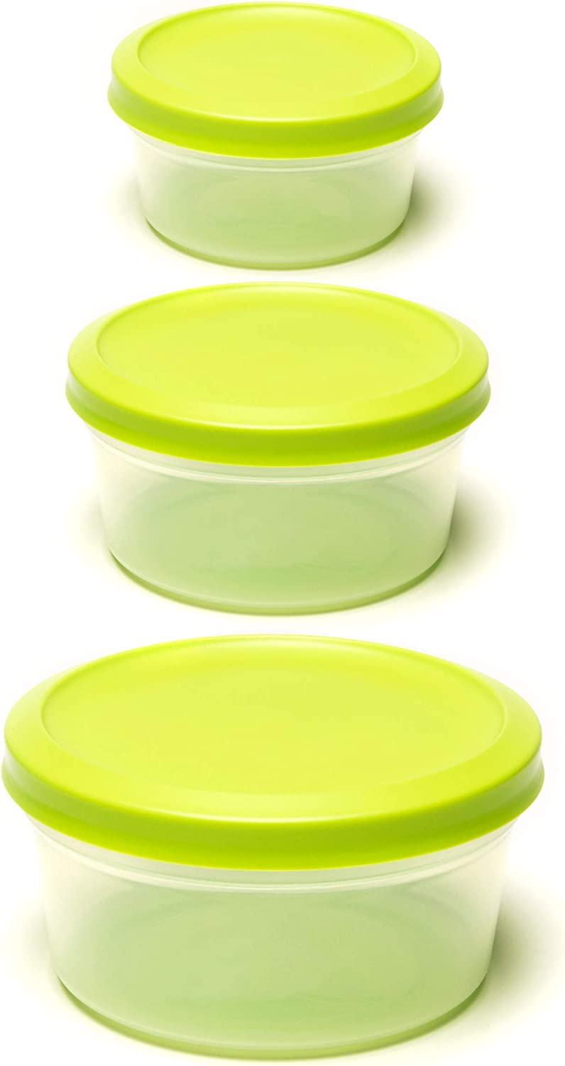 Amuse- Vacutop Collection- Medium Airtight and Stackable Container Set for Food Storage, Mixing, Serving, Salad or Dessert with Lid- Set of 6 (3 Containers+ 3 Lids)- Made in Europe (Green)