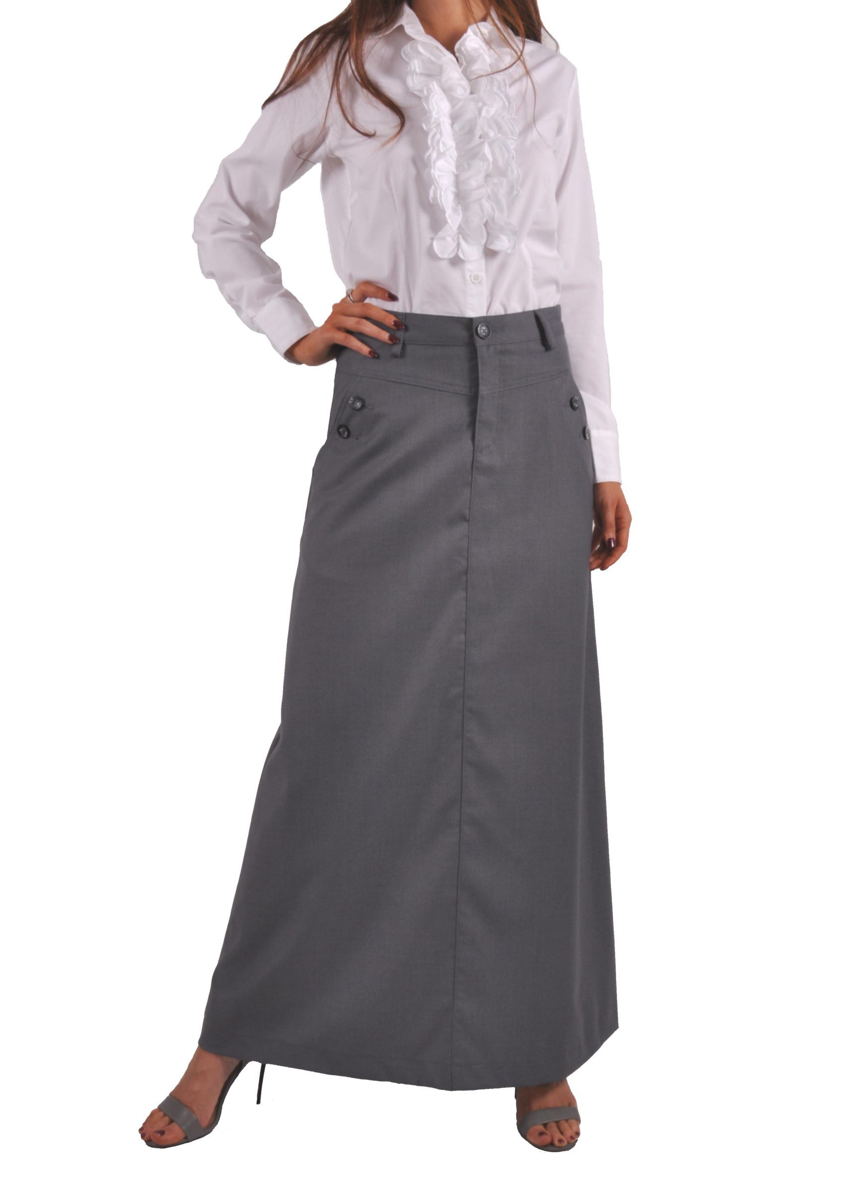 Style J Just Chic Gray Long Skirt-Gray-34(14)
