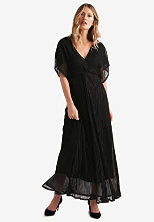 Ellos Womens Plus Size Knot Front Pleated Maxi Dress Black 12 At