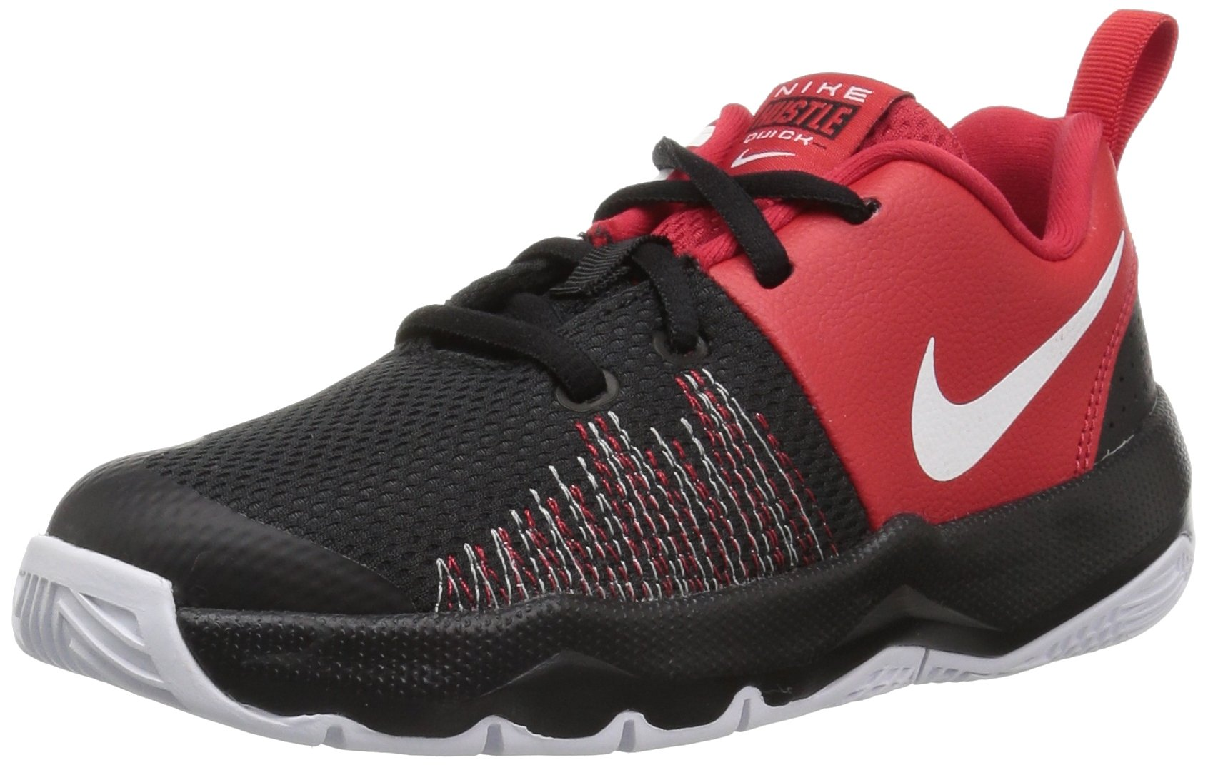 Nike Boys' Team Hustle Quick (PS) Basketball Shoe, Black/White - University red, 2.5 M US Little Kid