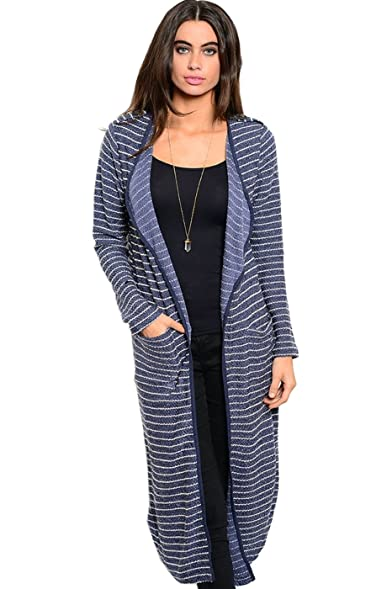 2LUV Women's Long Sleeve Open Front Knit Maxi Cardigan Blue ...