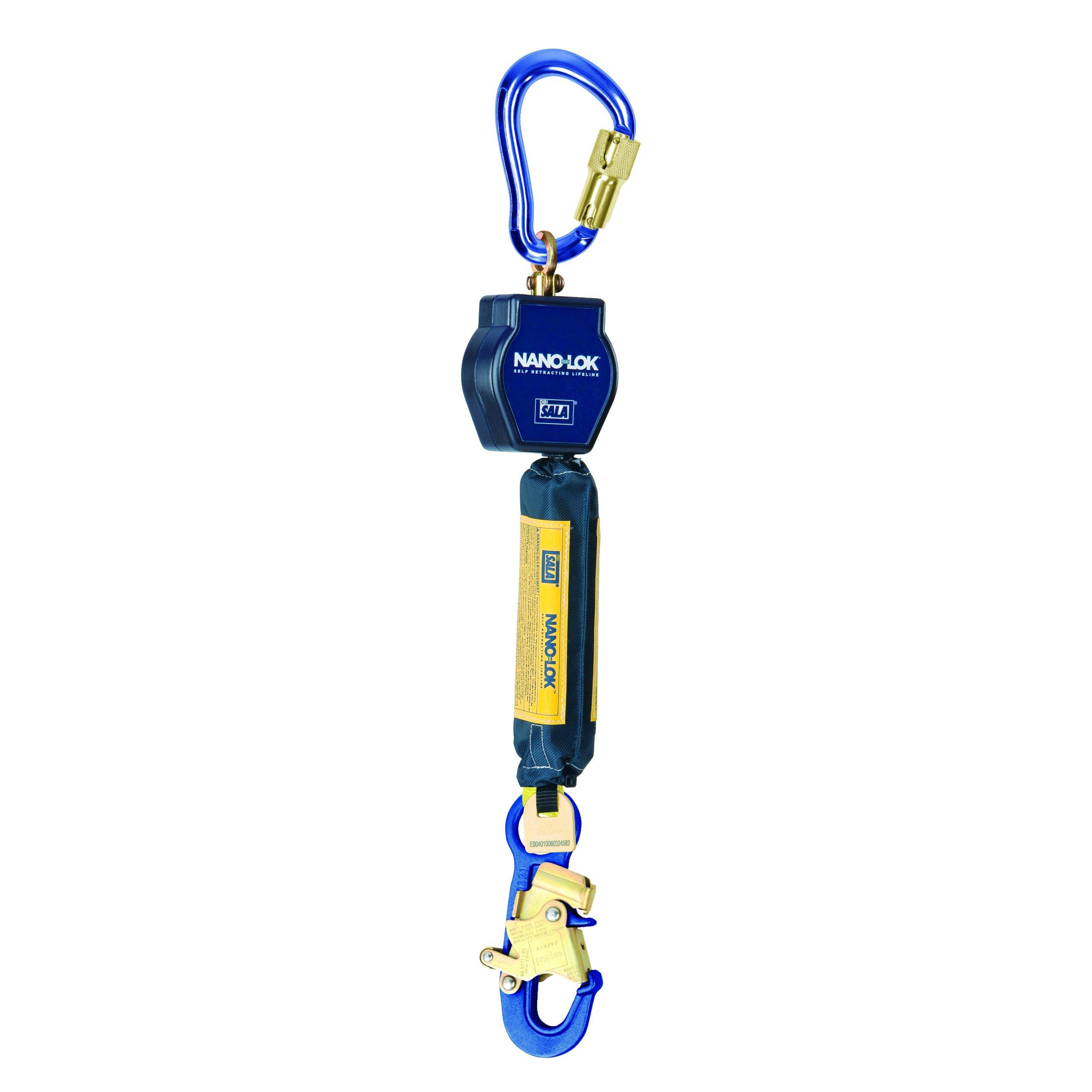 3M DBI-SALA Nano-Lok 3101214 Self Retracting Lifeline, 6', 3/4'' Dynema Polyester Web, Aluminum Snap Hook, Swiveling Anchor Loop with Aluminum Carabiner, Blue
