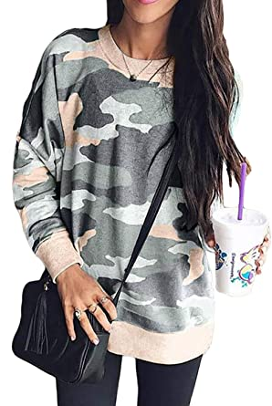 21836933e3f Camo Sweatshirt Crewneck Comfortable Fashion Camo Pullover Tops for Fall  Army Green S